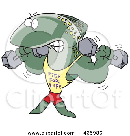 Royalty-Free (RF) Clipart Illustration of a Strong Fish Lifting Weights And Wearing A Fish For Life Shirt by toonaday