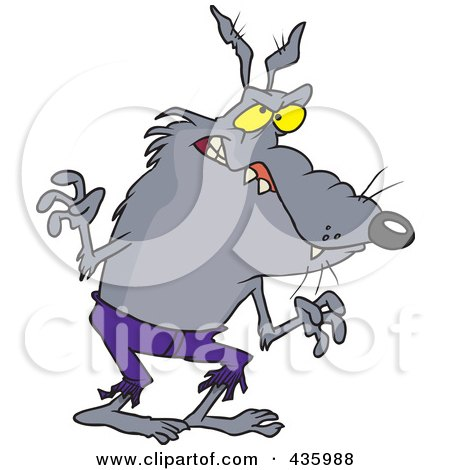 Royalty-Free (RF) Clipart Illustration of a Werewolf In Ragged Pants by toonaday