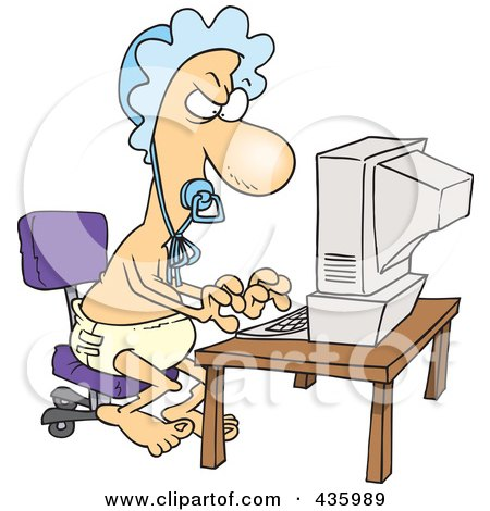 Royalty-Free (RF) Clipart Illustration of a Baby Man Typing A Complaint Email by toonaday