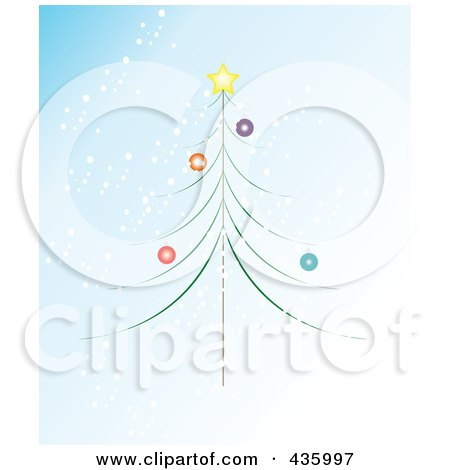 Royalty-Free (RF) Clipart Illustration of a Thin Christmas Tree With Colorful Baubles And A Star Over Snowy Blue by JR