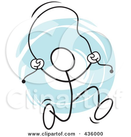 Royalty-Free (RF) Clipart Illustration of a Stickler Man Usinga  Jump Rope - 3 by Johnny Sajem