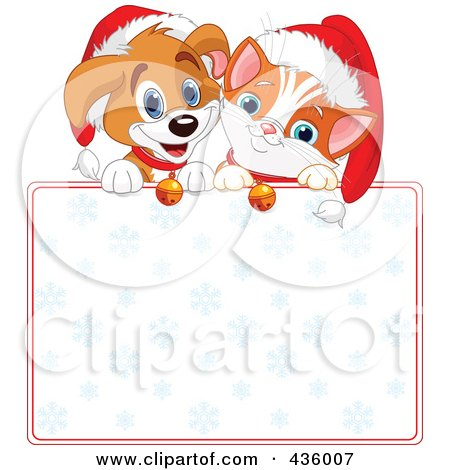 Royalty-Free (RF) Clipart Illustration of a Cute Christmas Puppy And Kitten With Santa Hats Over A Blank Snowflake Sign by Pushkin