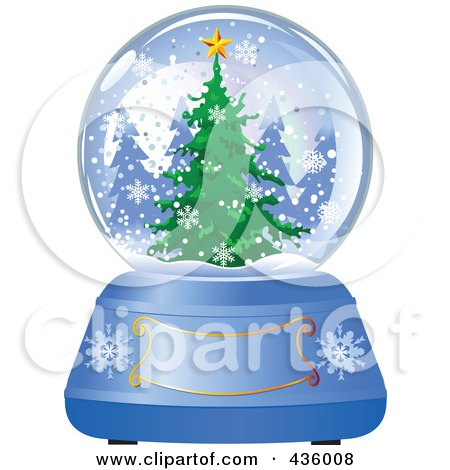 Royalty-Free (RF) Clipart Illustration of an Evergreen Christmas Tree In A Winter Snow Globe by Pushkin