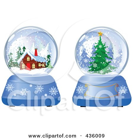 Royalty-Free (RF) Clipart Illustration of a Digital Collage Of Evergreen And Log Cabin Winter Snow Globes by Pushkin