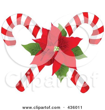 Royalty-Free (RF) Clipart Illustration of Two Christmas Candy Canes With A Red Poinsettia by Pushkin