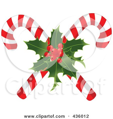 Royalty-Free (RF) Clipart Illustration of Two Christmas Candy Canes With Holly by Pushkin