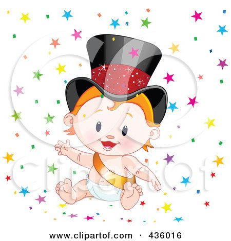 Royalty-Free (RF) Clipart Illustration of a Happy New Year Baby Surrounded By Colorful Star Confetti by Pushkin
