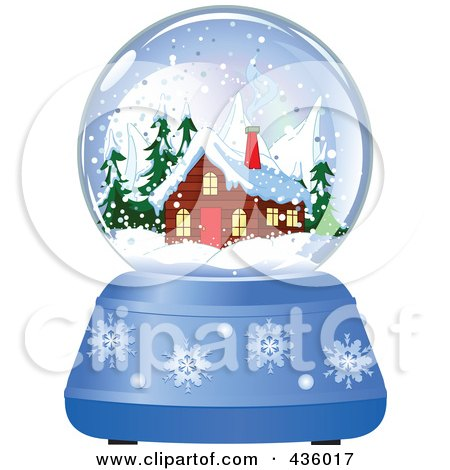 Royalty-Free (RF) Clipart Illustration of a Log Cabin In A Winter Snow Globe by Pushkin