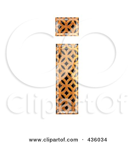 Royalty-Free (RF) Clipart Illustration of a 3d Patterned Orange Symbol; Lowercase Letter i by chrisroll