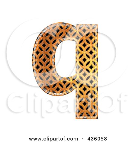 Royalty-Free (RF) Clipart Illustration of a 3d Patterned Orange Symbol; Lowercase Letter q by chrisroll