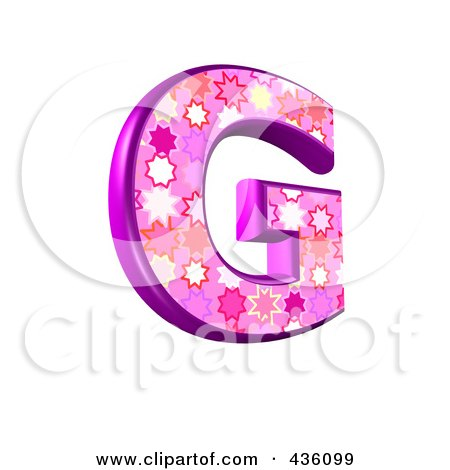 Royalty-Free (RF) Clipart Illustration of a 3d Pink Burst Symbol; Capital Letter G by chrisroll