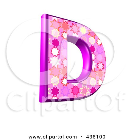 Royalty-Free (RF) Clipart Illustration of a 3d Pink Burst Symbol; Capital Letter D by chrisroll