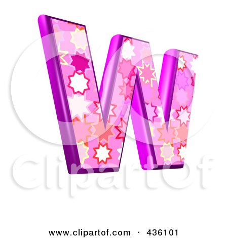 Royalty-Free (RF) Clipart Illustration of a 3d Pink Burst Symbol; Capital Letter W by chrisroll