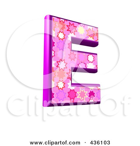 Royalty-Free (RF) Clipart Illustration of a 3d Pink Burst Symbol; Capital Letter E by chrisroll