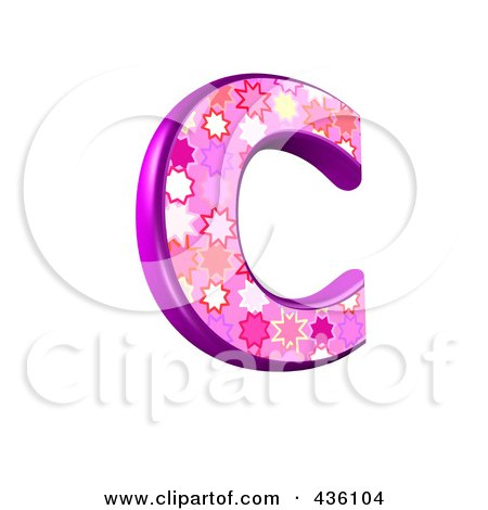 Royalty-Free (RF) Clipart Illustration of a 3d Pink Burst Symbol; Capital Letter C by chrisroll