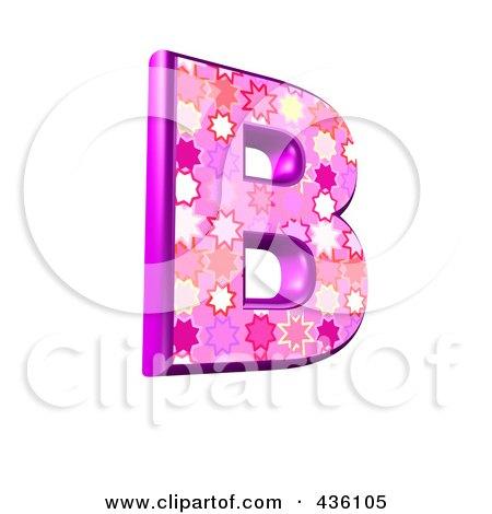 Royalty-Free (RF) Clipart Illustration of a 3d Pink Burst Symbol; Capital Letter B by chrisroll