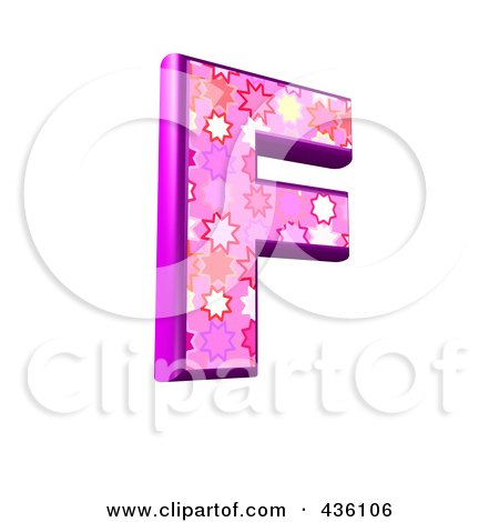 Royalty-Free (RF) Clipart Illustration of a 3d Pink Burst Symbol; Capital Letter F by chrisroll