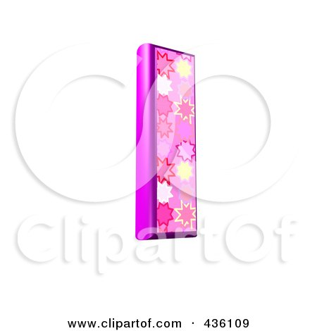 Royalty-Free (RF) Clipart Illustration of a 3d Pink Burst Symbol; Capital Letter I by chrisroll