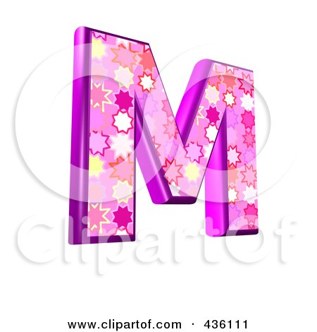 Royalty-Free (RF) Clipart Illustration of a 3d Pink Burst Symbol; Capital Letter M by chrisroll