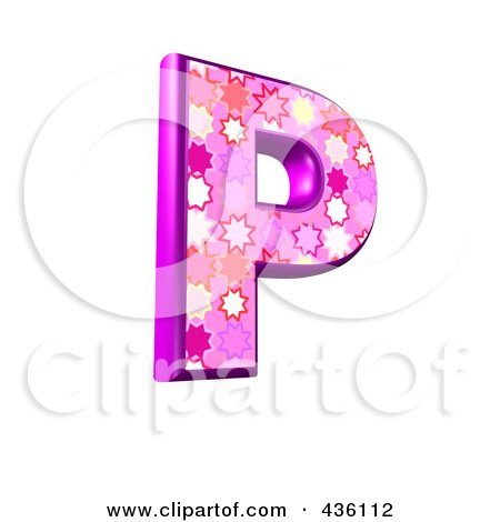 Royalty-Free (RF) Clipart Illustration of a 3d Pink Burst Symbol; Capital Letter P by chrisroll