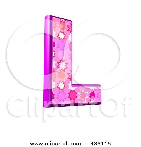 Royalty-Free (RF) Clipart Illustration of a 3d Pink Burst Symbol; Capital Letter L by chrisroll