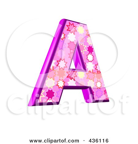 Royalty-Free (RF) Clipart Illustration of a 3d Pink Burst Symbol; Capital Letter A by chrisroll