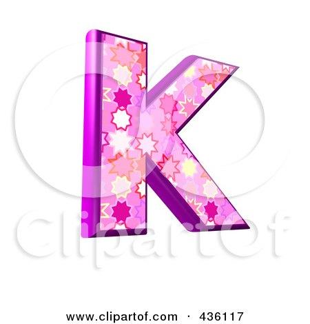 Royalty-Free (RF) Clipart Illustration of a 3d Pink Burst Symbol; Capital Letter K by chrisroll