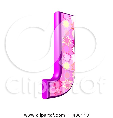 Royalty-Free (RF) Clipart Illustration of a 3d Pink Burst Symbol; Capital Letter J by chrisroll
