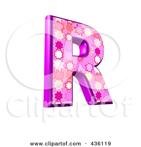 Royalty-Free (RF) Clipart Illustration of a 3d Pink Burst Symbol; Capital Letter R by chrisroll