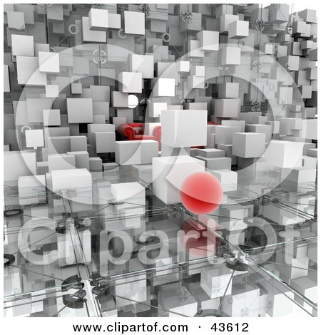 Clipart Illustration of 3d White Cubes And An Orb Floating In A Room With A Couch And Glass Floor by Frank Boston