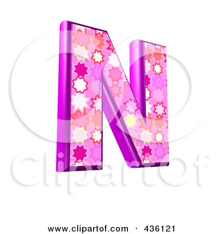 Royalty-Free (RF) Clipart Illustration of a 3d Pink Burst Symbol; Capital Letter N by chrisroll