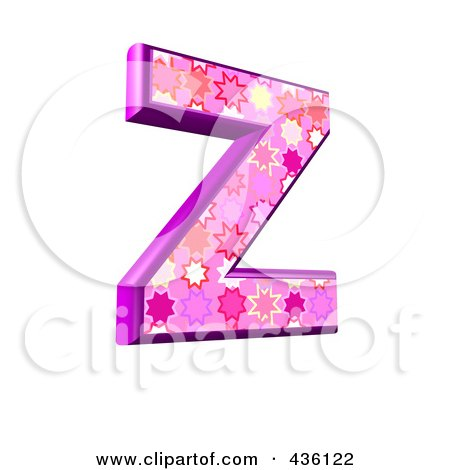 Royalty-Free (RF) Clipart Illustration of a 3d Pink Burst Symbol; Capital Letter Z by chrisroll