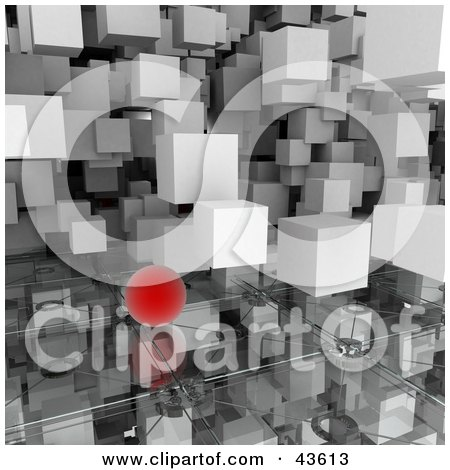 Clipart Illustration of 3d White Cubes And Red Orbs Floating Over A Glass Surface by Frank Boston