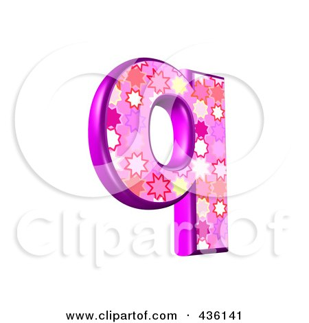 Royalty-Free (RF) Clipart Illustration of a 3d Pink Burst Symbol; Lowercase Letter q by chrisroll
