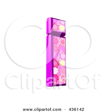 Royalty-Free (RF) Clipart Illustration of a 3d Pink Burst Symbol; Lowercase Letter i by chrisroll