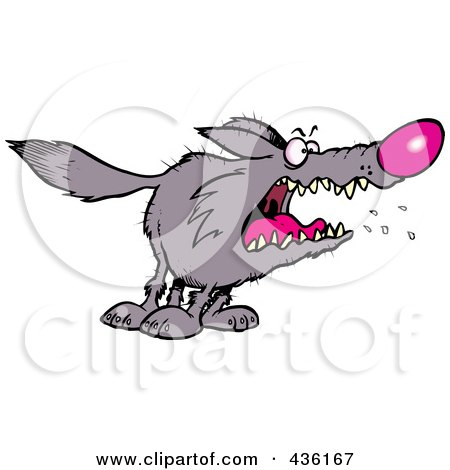 Royalty-Free (RF) Clipart Illustration of a Scary Wolf by toonaday