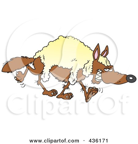 Royalty-Free (RF) Clipart Illustration of a Wolf Wearing Wool by toonaday