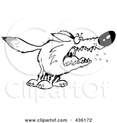 Royalty-Free (RF) Clipart Illustration of a Line Art Design Of A Scary Wolf by toonaday