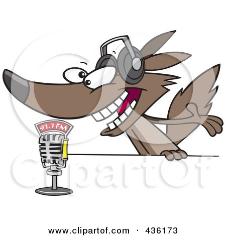 Royalty-Free (RF) Clipart Illustration of a Radio Wolf Talking Into A Microphone by toonaday