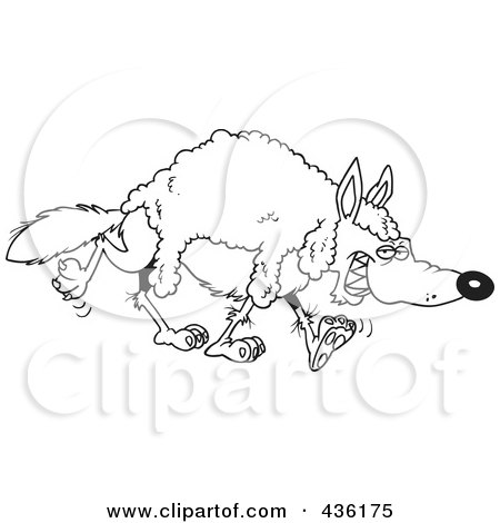 Royalty-Free (RF) Clipart Illustration of a Line Art Design Of A Wolf Wearing Wool by toonaday