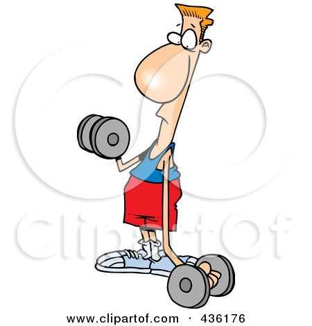 Royalty-Free (RF) Clipart Illustration of a Flimsy Armed Man Lifting Weights by toonaday