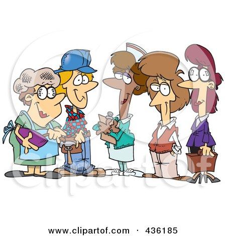Royalty-Free (RF) Clipart Illustration of a Group Of Ladies From Different Occupations by toonaday