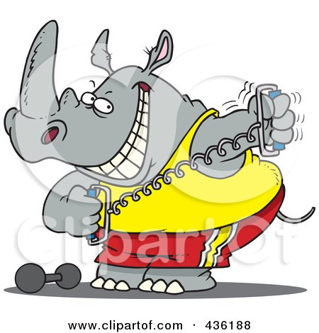 Royalty-Free (RF) Clipart Illustration of a Workout Rhino Using A Stretching Device by toonaday