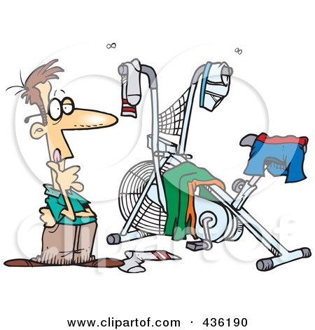 Royalty-Free (RF) Clipart Illustration of a Man Staring At His Messy Workout Space by toonaday