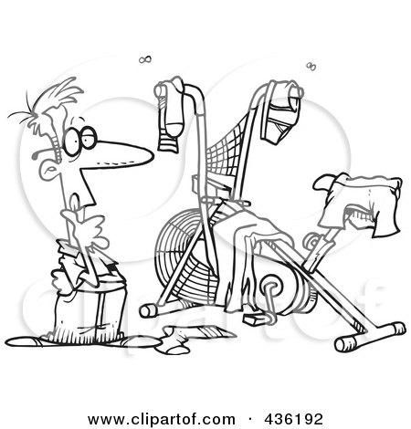Royalty-Free (RF) Clipart Illustration of a Line Art Design Of A Man Staring At His Messy Workout Space by toonaday
