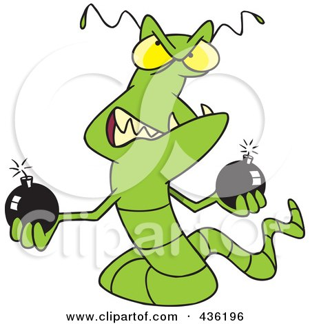 Royalty-Free (RF) Clipart Illustration of a Worm Virus Holding Bombs by toonaday