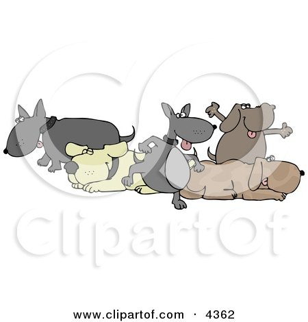 Group Of Five Dogs Clipart by djart