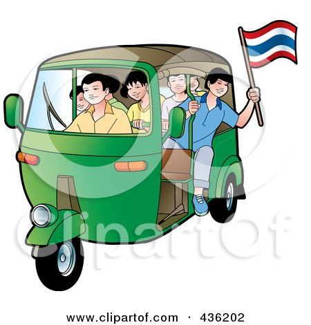 Royalty-Free (RF) Clipart Illustration of a Green Tuk Tuk Packed Full Of Kids, One Leaning Out And Holding A Thai Flag by Lal Perera
