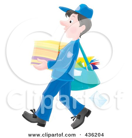 Royalty-Free (RF) Clipart Illustration of a Mail Man Carrying A Stack Of Paper by Alex Bannykh