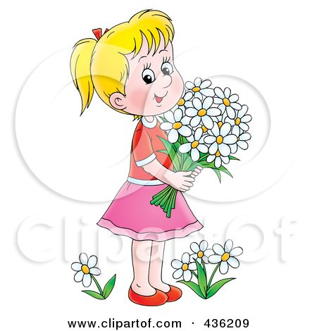 Royalty-Free (RF) Clipart Illustration of a Cartoon Girl Picking Daisy Flowers by Alex Bannykh